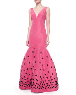 Sleeveless Embroidered Gown, Amaranth