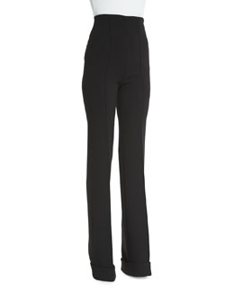 High-Waist Stretch-Wool Trousers, Black