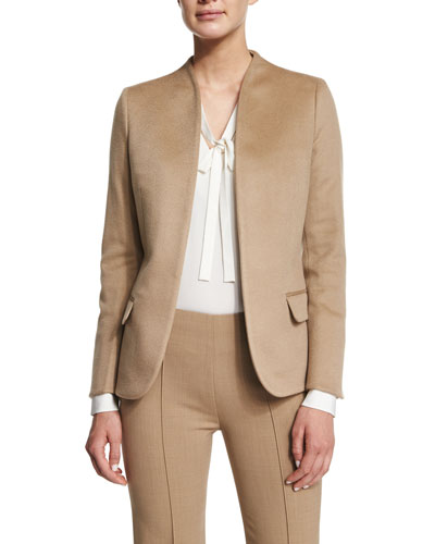 Cashmere Open-Front Blazer, Brown