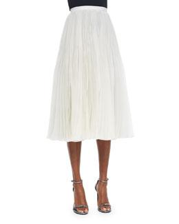 Pleated Organza Midi Skirt
