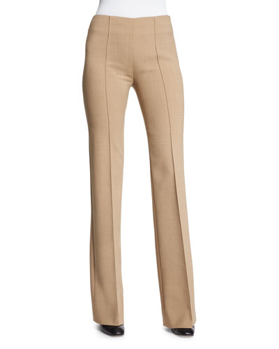 Stretch Double-Wool Seamed Pants, Camello