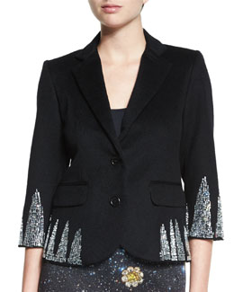 Shark-Tooth Crystal-Embellished Blazer