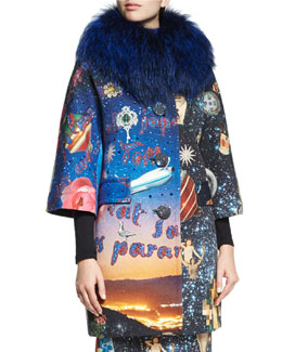 Starry Night Fur-Collar Coat