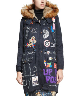 Crystal-Patchwork Faux-Fur Parka Coat, Navy