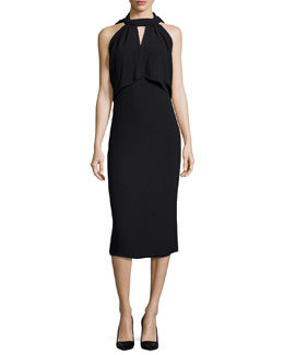 Halter-Neck Open-Back Sheath Dress, Black
