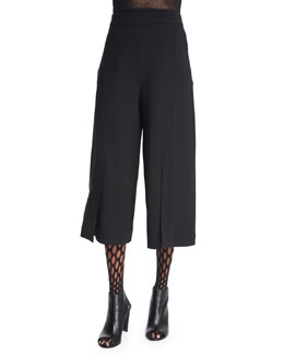 Twill Suiting Culottes, Black