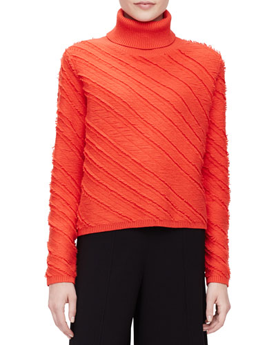 Diagonal-Striped Jacquard Turtleneck Sweater, Crimson