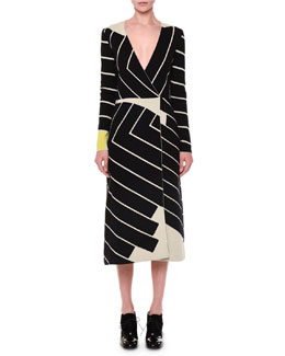 Asymmetric Striped Faux-Wrap Dress