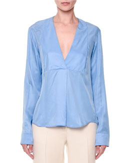 Via Crepe Front-Paneled Blouse, Light Blue