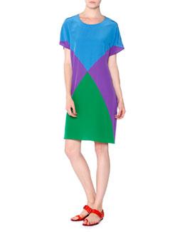 Colorblock Silk Crepe Tunic Dress