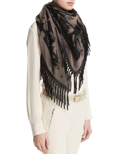Flamenco December Cashmere Scarf, Black/Gray