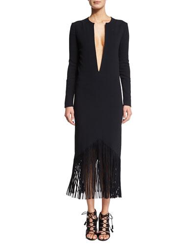 Plunging Long-Sleeve Fringed Cady Dress, Black