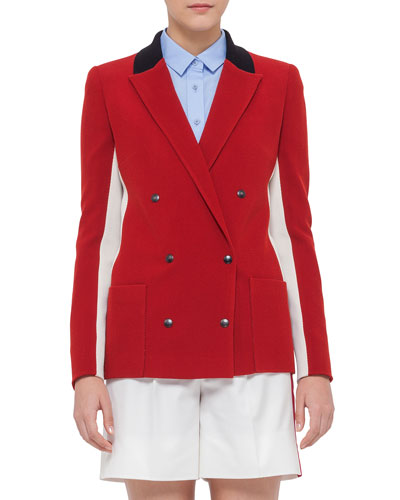 Double-Breasted Wool-Blend Jacket, Sport Red/Cream