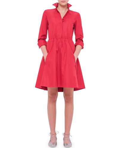 Long-Sleeve Drawstring-Waist Shirtdress, Cherry