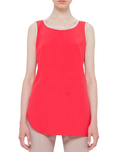 Sleeveless Silk Round-Neck Top, Sport Red/Cord