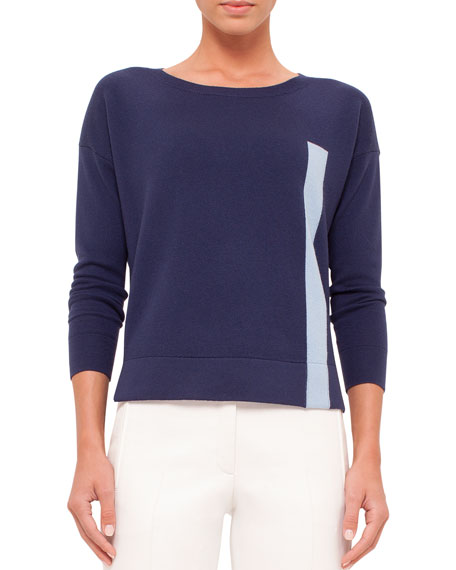 Boxy Two-Tone Wool Sweater, Sky Blue/Indigo