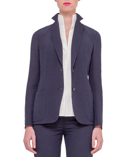 Textured Silk-Blend Jacket, Navy