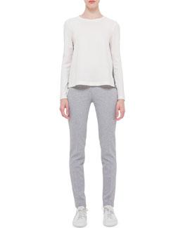 Mara Long Stretch-Jersey Pants, Silver