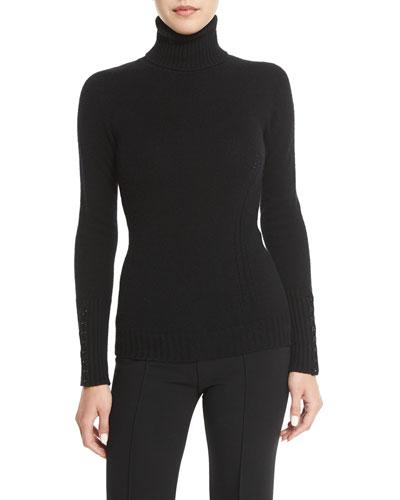 à-Jour Open-Knit Cashmere Turtleneck Sweater, Black