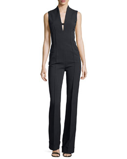 Stretch-Wool V-Neck Jumpsuit, Gray