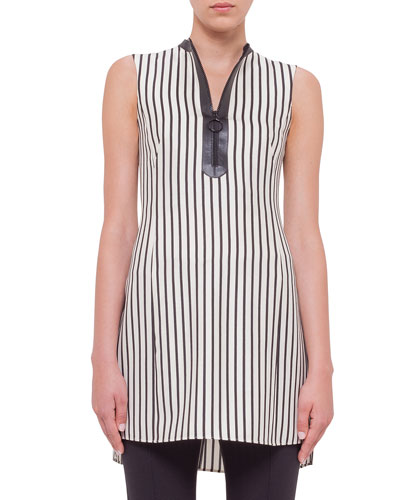 Sleeveless Striped Half-Zip Tunic, Cream/Black