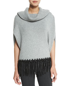 Cashmere Cowl-Neck Leather-Fringe Poncho