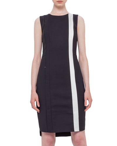Sleeveless Techno Fabric Shift Dress, Black/Cream