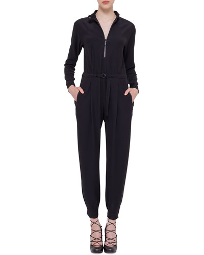 Long-Sleeve Techno Fabric Jumpsuit, Black