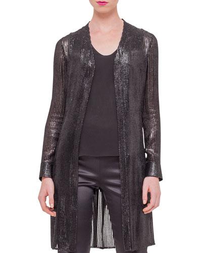 Sequined Velvet Long Car Coat, Black