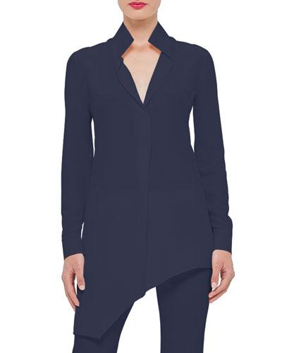 Long-Sleeve Asymmetric Tunic, Indigo