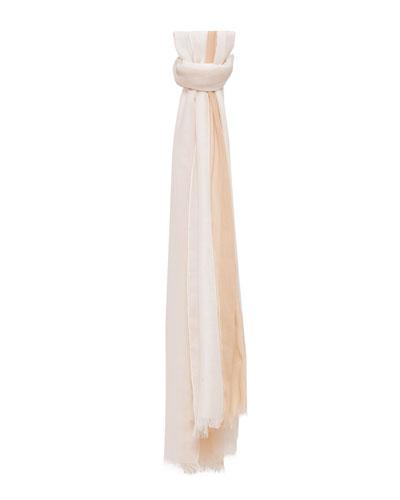 Striped Silk/Cashmere Scarf, Zinc/Ranunculus