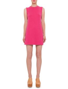 Sleeveless Double-Face Cashmere Tunic Dress, Hot Pink