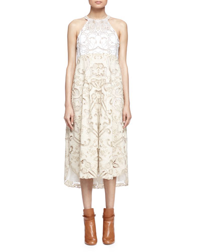 Embroidered Lace-Contrast Halter Dress