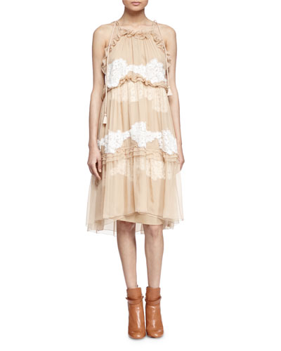 Ruffle-Tiered Floral Lace-Inset Dress