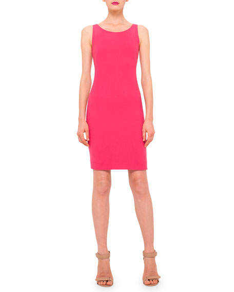 Sleeveless Wool-Crepe Sheath Dress, Rose