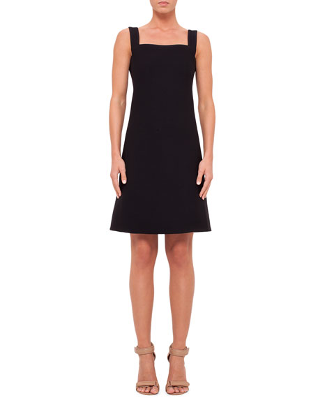 Sleeveless Square-Neck Wool Dress, Black