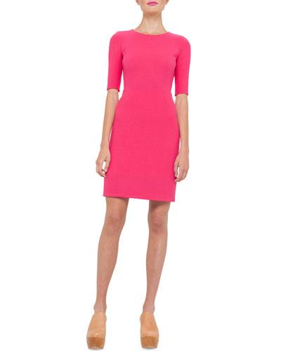 Half-Sleeve Wool-Crepe Sheath Dress, Rose