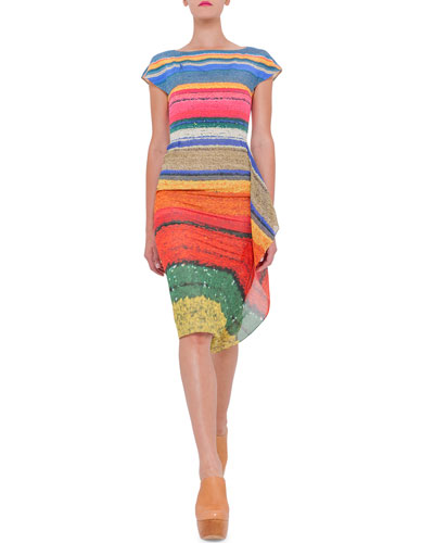 Cap-Sleeve Wind Turbine Silk Dress, Multi