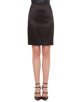 Satin Pencil Skirt