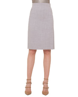 High-Waisted Melange Pencil Skirt