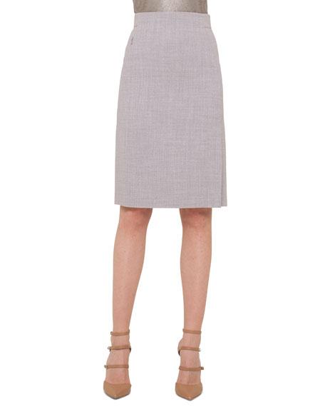 High-Waisted Melange Pencil Skirt