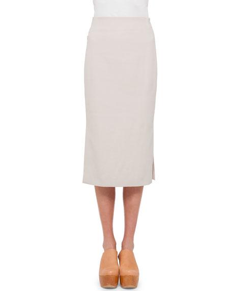 Long Cotton Pencil Skirt, Beige