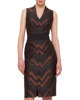Herringbone Chevron Jacquard Sheath Dress