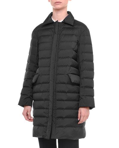 Spread-Collar Zip-Front Puffer Coat, Black
