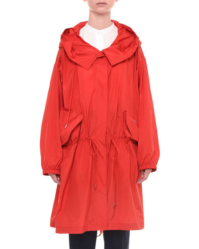 Button-Front Taffeta Rain Coat, Red