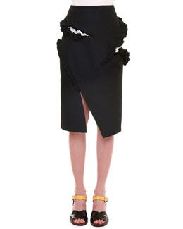 Ruffled Slit Gabardine Pencil Skirt, Navy