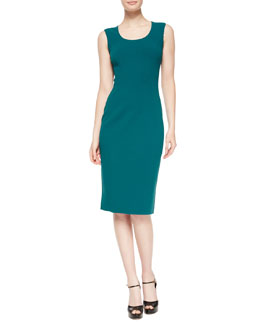 Sleeveless Scoop-Neck Sheath Dress, Peacock