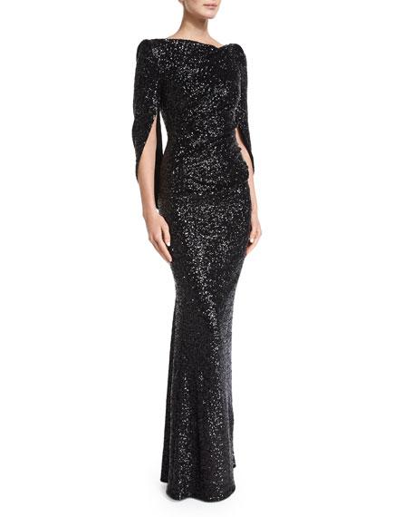 Konica Cowl-Back Metallic Gown, Black