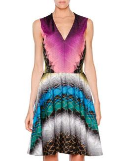 Raschel Stereo Knit V-Neck Dress