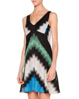 Chevron Metallic V-Neck Dress